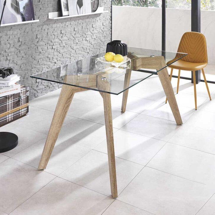 Medium Size of Esstisch Luyasa Aus Glas 160 Cm Breit Tisch Kaufende 80x80 Oval Esstische Massivholz Betonplatte Grau Antik Holz Massiv Glaswand Küche Design Wandpaneel Esstische Glas Esstisch