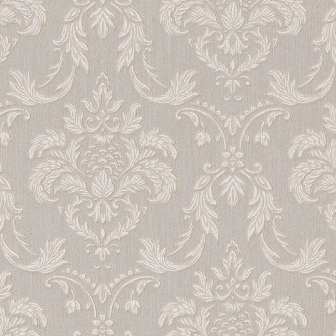 Large Size of Casa Padrino Barock Textiltapete Grau Wei Beige 10 Led Beleuchtung Wohnzimmer Pendelleuchte Wandtattoo Hängeschrank Weiß Hochglanz Tapeten Für Küche Wohnzimmer Wohnzimmer Tapeten