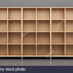 Holz Bro Schrank Regal Vor Der Graue Wand 3d Darstellung Mit Schreibtisch Kleines Aus Kisten Industrie Glasböden Kinderzimmer Gebrauchte Regale Günstige Regal Graues Regal