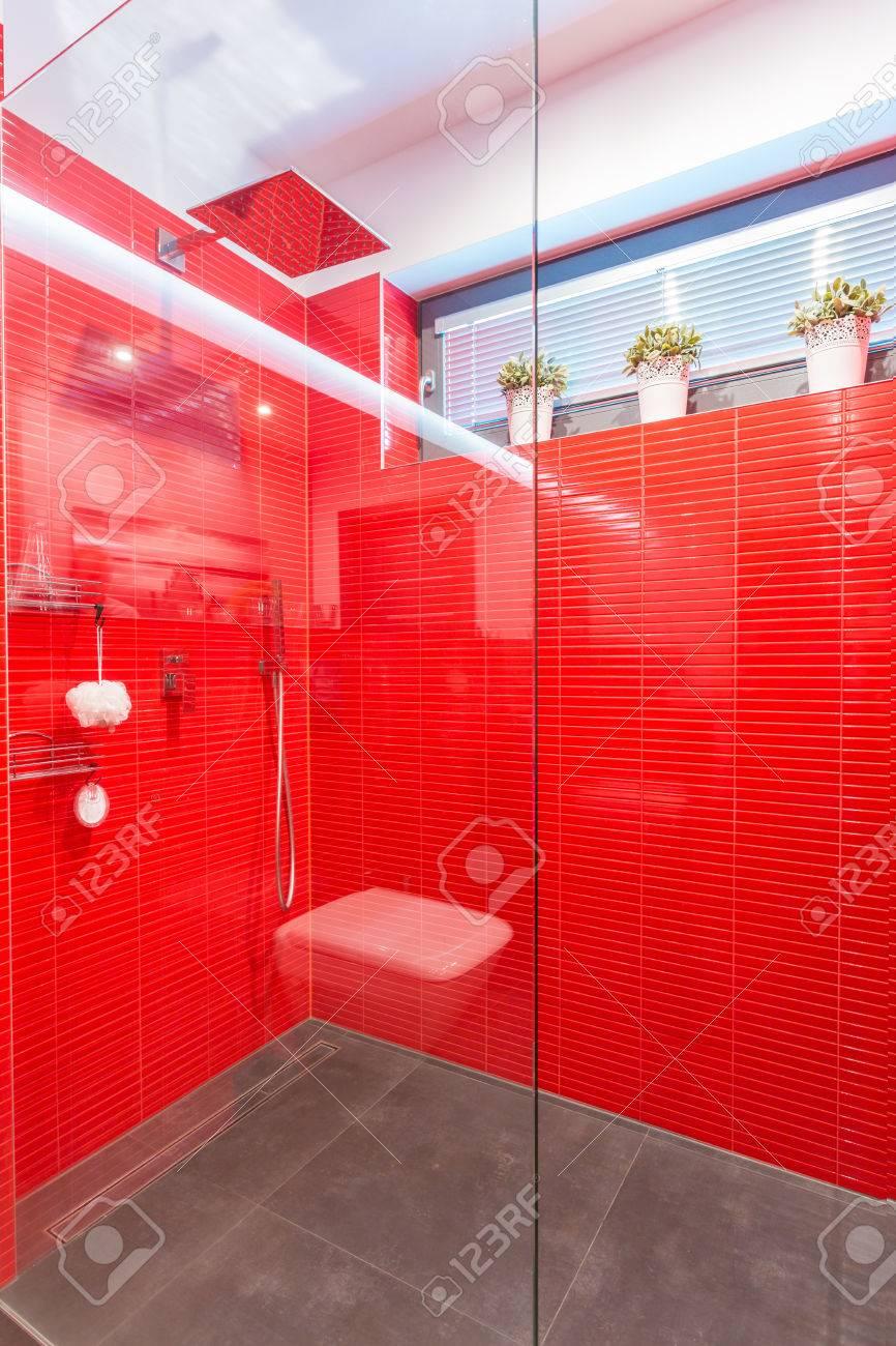 Full Size of Exklusiven Dusche Mit Glastr Und Rote Wand Lizenzfreie Grohe Thermostat Rainshower Hüppe Duschen Breuer Nischentür Begehbare Fliesen Abfluss Schulte Sprinz Dusche Glastür Dusche