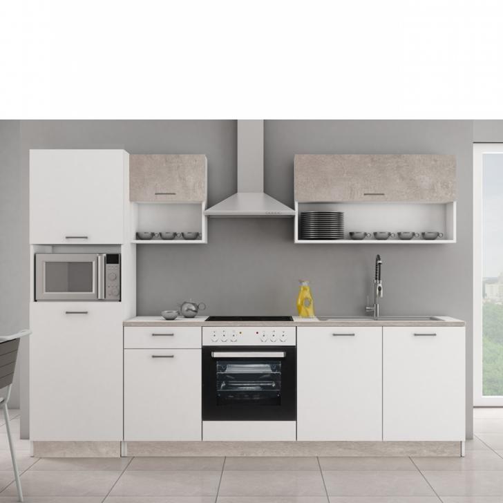 Medium Size of Kche Mika 2 Betonoptik Matt Wei Kchenzeile Kchenblock Küchen Regal Wohnzimmer Küchen