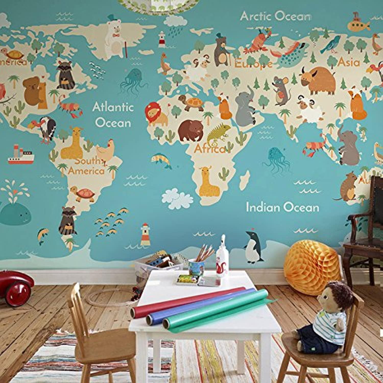 Full Size of Weltkarte Cartoon Yosot Wandbild Kinderzimmer Vliestapeten Regale Wandbilder Schlafzimmer Sofa Regal Wohnzimmer Weiß Kinderzimmer Wandbild Kinderzimmer