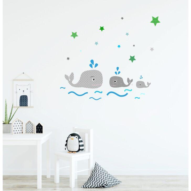 Wandsticker Kinderzimmer Junge Walfamilie Wal Wale Walfisch Grau Gemustert Regal Weiß Küche Regale Sofa Kinderzimmer Wandsticker Kinderzimmer Junge