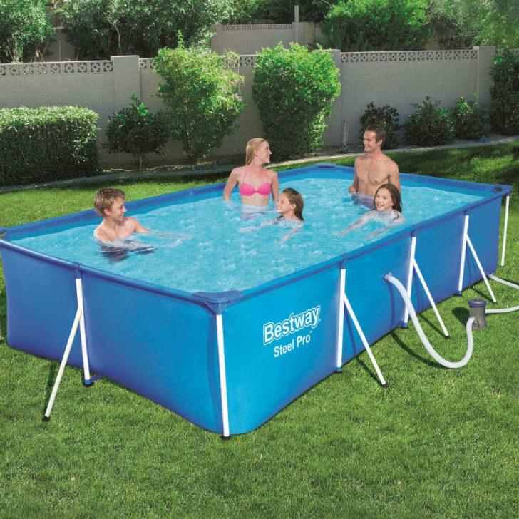 Medium Size of Gartenpool Rechteckig Bestway Steel Pro 400x211x81cm Rechteckiges Stahlrahmen Pool Set Wohnzimmer Gartenpool Rechteckig