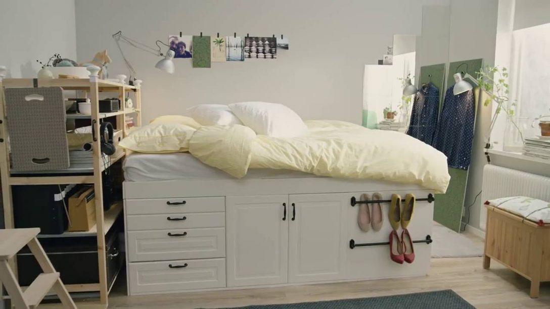 Large Size of Stauraum Bett 180x200 Ikea Mit 90x200 Selber Bauen 160x200 Quadratmeterchallenge Winziges Schlafzimmer Fr Zwei Youtube Kleiderschrank Regal 2 Sitzer Sofa Wohnzimmer Bett Mit Stauraum Ikea