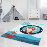 Teppiche Kinderzimmer Teppich Mit Piratenmuster Moda Kids 2030 Blau Flachflor Regal Weiß Regale Wohnzimmer Sofa Kinderzimmer Teppiche Kinderzimmer