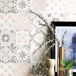 Moderne Kchentapete Isalie Grau In Zarter Fliesenoptik Wohnzimmer Küchentapete