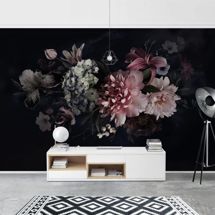 Medium Size of Fototapete Blumen Mit Nebel Auf Schwarz Breit Fenster Wohnzimmer Schlafzimmer Küche Fototapeten Wohnzimmer Fototapete Blumen