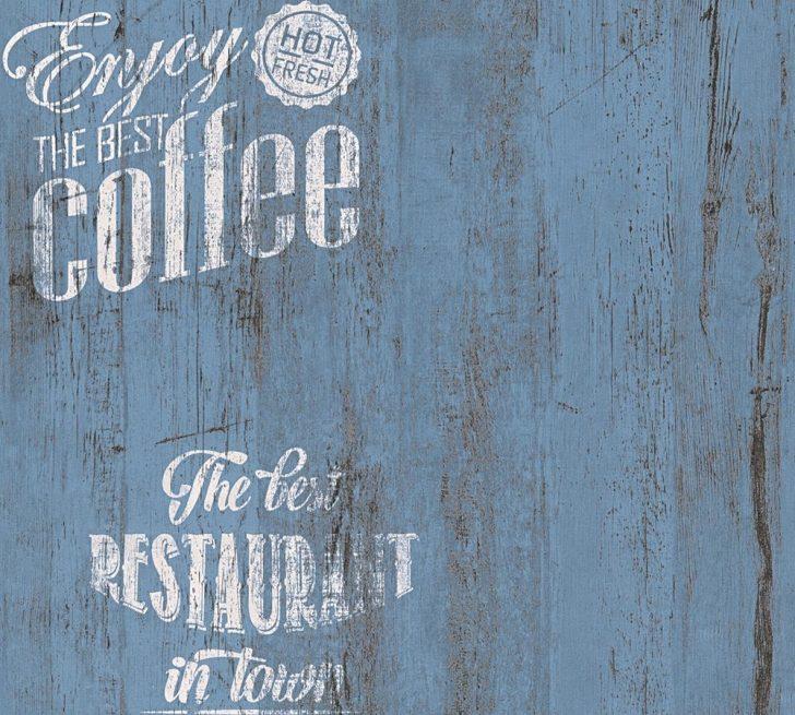 Medium Size of Tapete Coffee Kche Bistro Blau As Creation 33481 5 Outdoor Küche Kaufen Laminat Für Eckschrank Was Kostet Eine Neue Werkbank Fettabscheider Fototapete Wohnzimmer Küche Tapete
