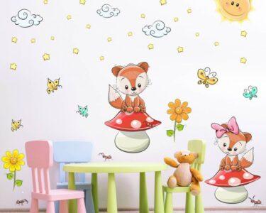 Kinderzimmer Wanddeko Kinderzimmer 001 Wandtattoo Fchse Auf Pilz Kinderzimmer Sticker Sofa Regal Regale Weiß Wanddeko Küche