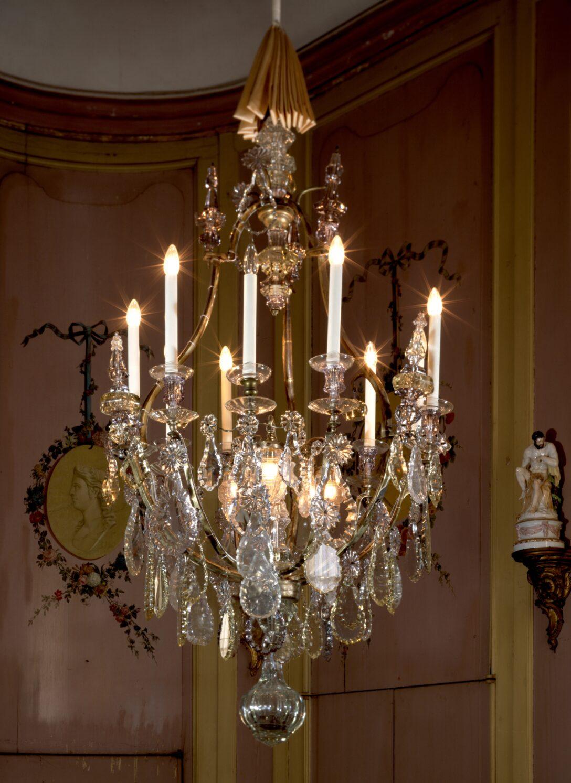 Large Size of Hängelampen Kronleuchter Mit Behang Aus Glas 9 Kerzen Und 3 Hngelampen Wohnzimmer Hängelampen