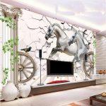 Vliestapete Wohnzimmer Wohnzimmer Mural Foto 3d Tapete Wohnzimmer Pferd Stein Heizkörper Tisch Sessel Lampe Schrankwand Anbauwand Kamin Stehlampe Hängeschrank Vorhänge Beleuchtung Teppich