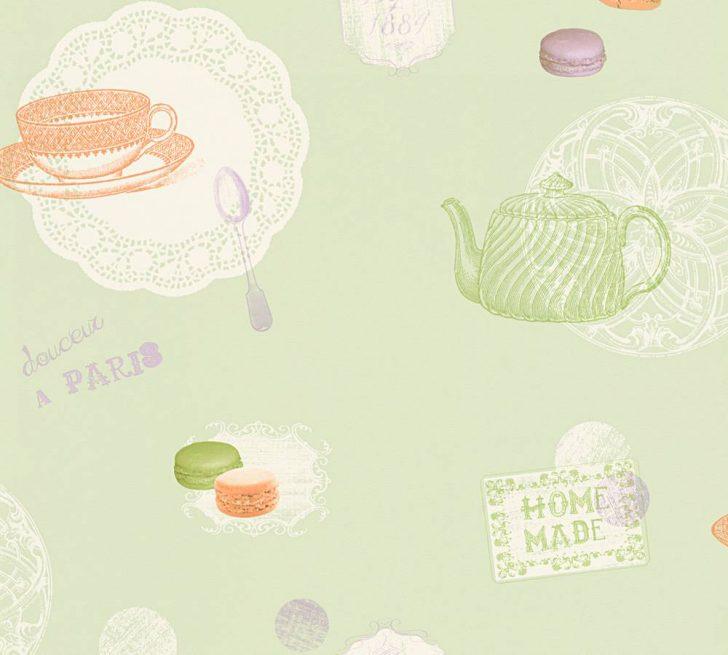 Medium Size of Küchentapete Kchentapete Macarons Grn Wei As Creation 32730 1 Wohnzimmer Küchentapete