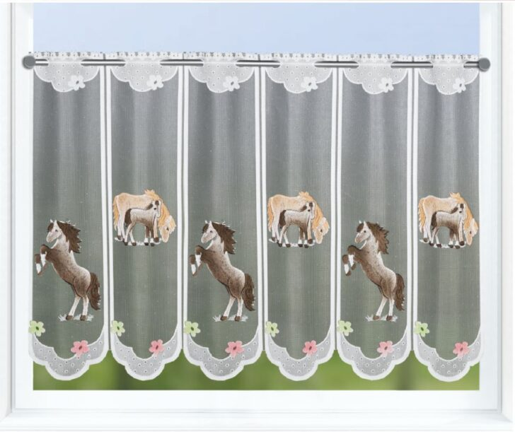 Medium Size of Scheibengardinen Kinderzimmer Scheibengardine Pferd Und Fohlen Bxh 150x60cm Clever Kauf 24de Regal Regale Sofa Küche Weiß Kinderzimmer Scheibengardinen Kinderzimmer
