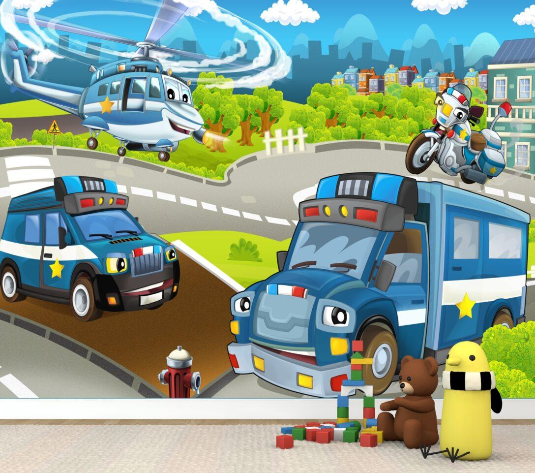 Large Size of Fototapeten Kinderzimmer Vlies Tapete Poster Fototapete Polizei Hubschrauber Wohnzimmer Regal Weiß Regale Sofa Kinderzimmer Fototapeten Kinderzimmer