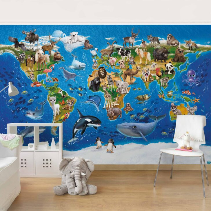 Medium Size of Fototapete Kinderzimmer Animal Club International Weltkarte Sofa Regal Fototapeten Wohnzimmer Weiß Regale Kinderzimmer Fototapeten Kinderzimmer