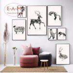 Kinderzimmer Dekoration Kinderzimmer Tiere Aquarell Leinwand Kunstdruck Malerei Poster Sofa Regal Wohnzimmer Weiß Regale