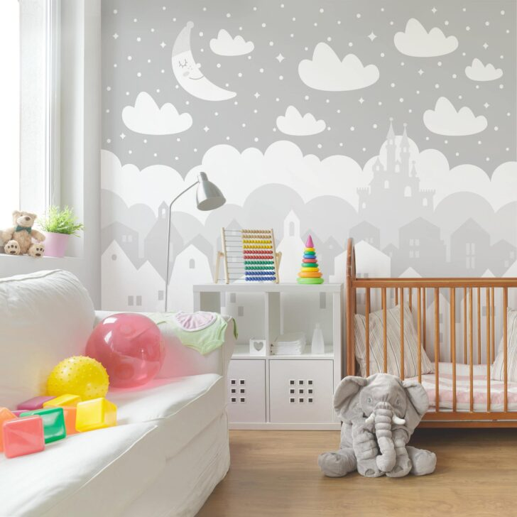 Medium Size of Vliestapete Kinderzimmer Sternenhimmel Mit Husern Und Mond In Regale Sofa Regal Weiß Kinderzimmer Sternenhimmel Kinderzimmer