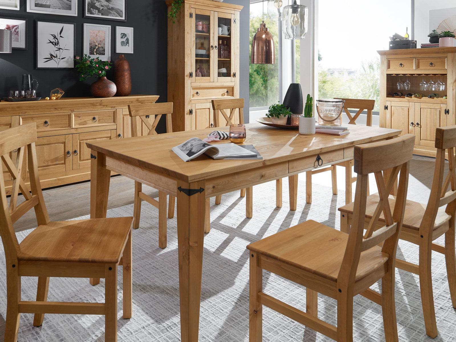 Full Size of Stühle Esstisch Essgruppe Torino Massivholz 1 180x90 Cm U 6 Sthle Pinie Esstische Bogenlampe Set Günstig Ausziehbarer Eiche Massiv 2m Industrial Quadratisch Esstische Stühle Esstisch