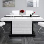 Weißer Esstisch Design Tisch He 555 Wei Schwarz Hochglanz Ausziehbar Eiche Mit Baumkante Runder Und Stühle Sheesham Kaufen Esstische Massivholz Esstische Weißer Esstisch