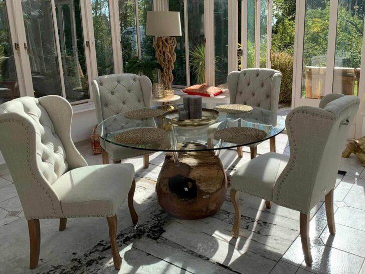 Medium Size of Designer Glas Esstisch Rund Mit Massivholz Teak Unterbau In Weißer Esstische Holz Stühle Glasbilder Bad 4 Stühlen Günstig Und Kleiner Weiß Musterring Esstische Glas Esstisch
