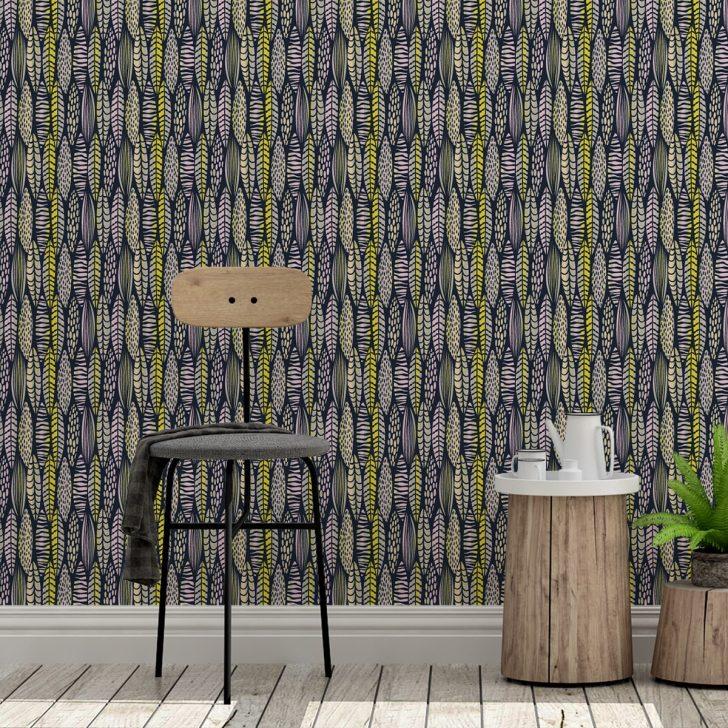 Medium Size of Tapeten Modern Florale Tapete Streifen Bltter Grafisch In Dunkelblau Moderne Deckenleuchte Wohnzimmer Deckenlampen Bilder Küche Holz Bett Design Wohnzimmer Tapeten Modern