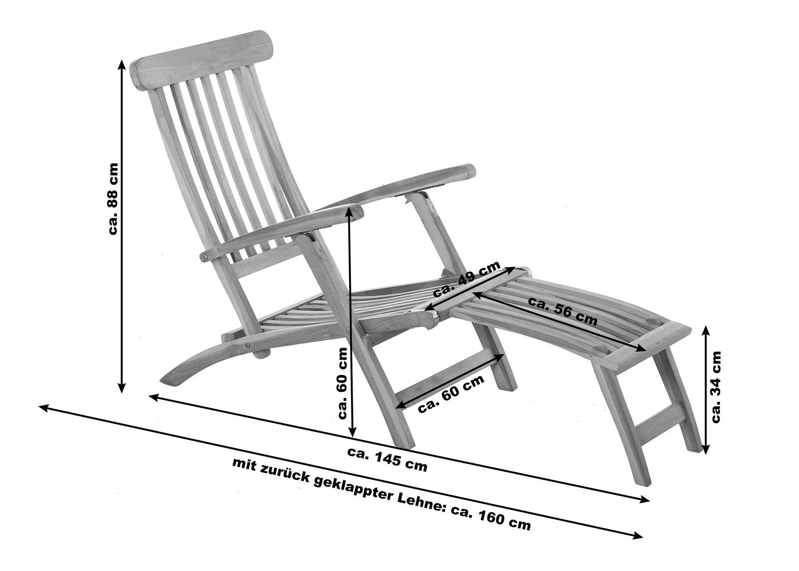 Full Size of Gartenliege Klappbar Sam Teakholz Deckchair 145 Cm Puccon Ausklappbares Bett Ausklappbar Wohnzimmer Gartenliege Klappbar
