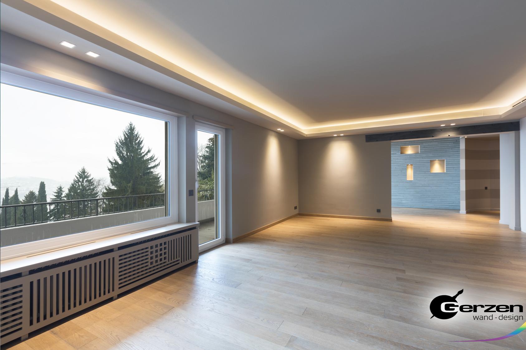 Full Size of Wohnzimmer Indirekte Beleuchtung Abgehngte Decke In Einem Modernen Heizkörper Teppich Tapete Hängeschrank Weiß Hochglanz Bilder Xxl Deckenlampe Badezimmer Wohnzimmer Wohnzimmer Indirekte Beleuchtung