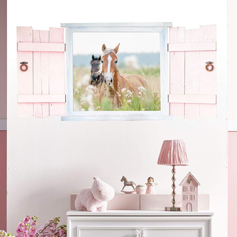 Full Size of Kinderzimmer Pferd Wandtattoo Pferde Im Fenster Mit Fensterlden In 6 Gren Regal Regale Weiß Sofa Kinderzimmer Kinderzimmer Pferd