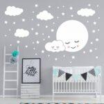 Kinderzimmer Wanddeko 162 Wandtattoo Vollmond Mit Wolken Und Sternen Wei Regal Weiß Küche Regale Sofa Kinderzimmer Kinderzimmer Wanddeko
