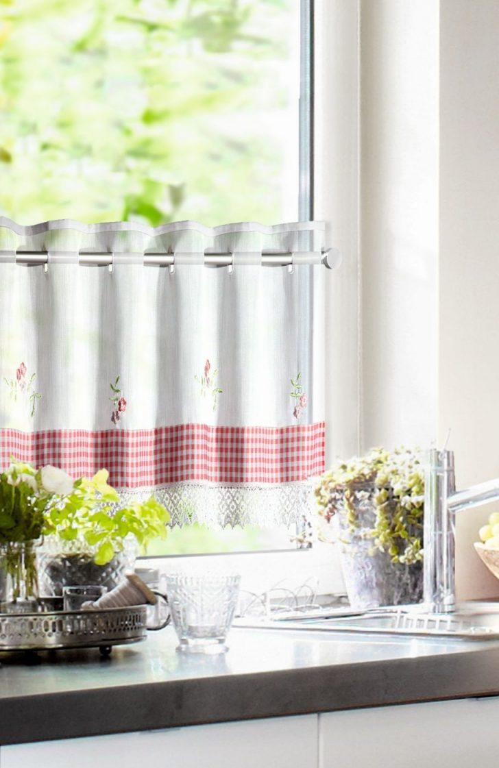 Medium Size of Küchenvorhänge Kchengardinen Im Landhausstil Mit Spitzenbordre Vichy Einsatz Wohnzimmer Küchenvorhänge