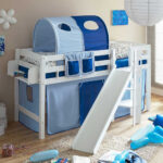 Kinderzimmer Hochbett Funius Mit Rutsche Und Vorhang In Blau Regal Weiß Regale Sofa Kinderzimmer Kinderzimmer Hochbett