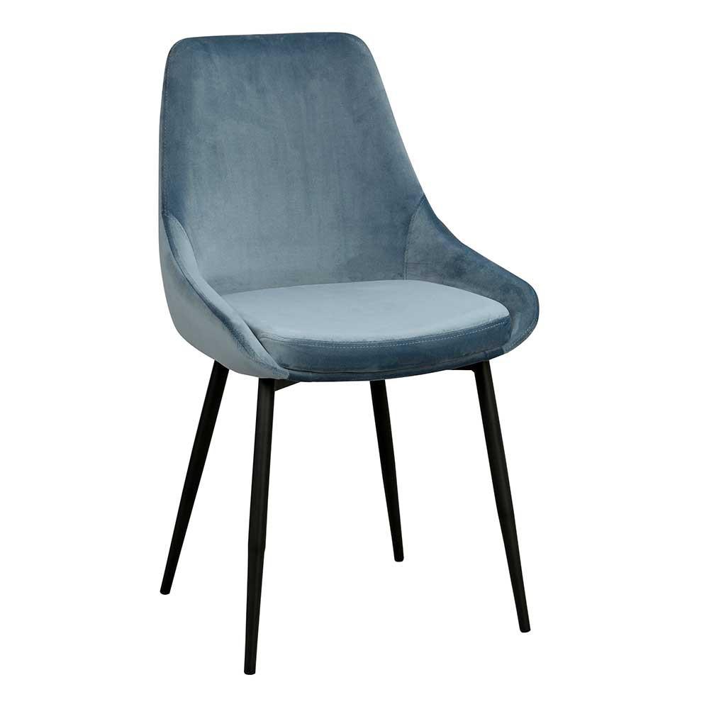 Full Size of Esstischstühle Moderner Esstischstuhl In Blau Samt Schwarz Stahl Elisa 2er Set Esstische Esstischstühle