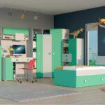 Kinderzimmer Yoko02 7 Tlg Grau Grn Regal Weiß Sofa Regale Kinderzimmer Eckkleiderschrank Kinderzimmer
