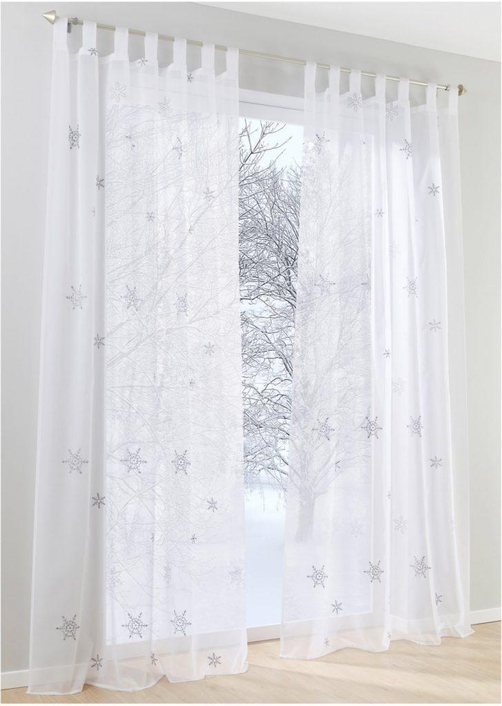 Medium Size of Gardine Bestickt Mit Schneeflocken Wei Silber Gardinen Für Küche Schlafzimmer Scheibengardinen Wohnzimmer Bonprix Betten Fenster Die Wohnzimmer Bonprix Gardinen