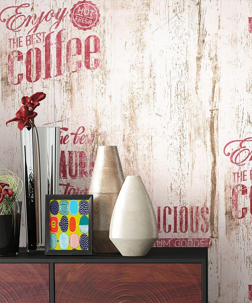 Full Size of Tapeten Küche Papiertapete Beige Caf Aufschrift Alte Werbung Kche Landhausküche Weiß Unterschrank Hängeschrank Glastüren Arbeitsplatte Eiche Wohnzimmer Tapeten Küche