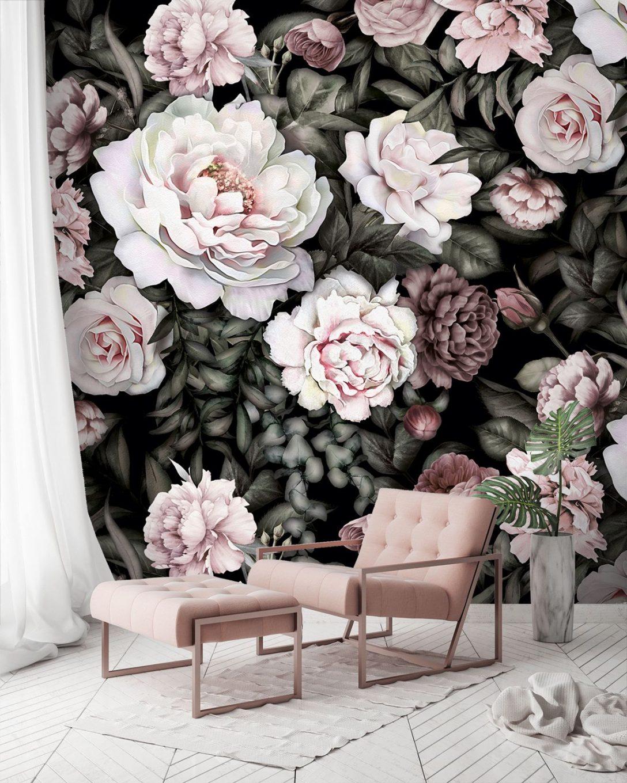 Large Size of Fototapete Blumen Tapete Wei Rose Aquarell Bltter Flche Muster Fototapeten Wohnzimmer Fenster Küche Schlafzimmer Wohnzimmer Fototapete Blumen