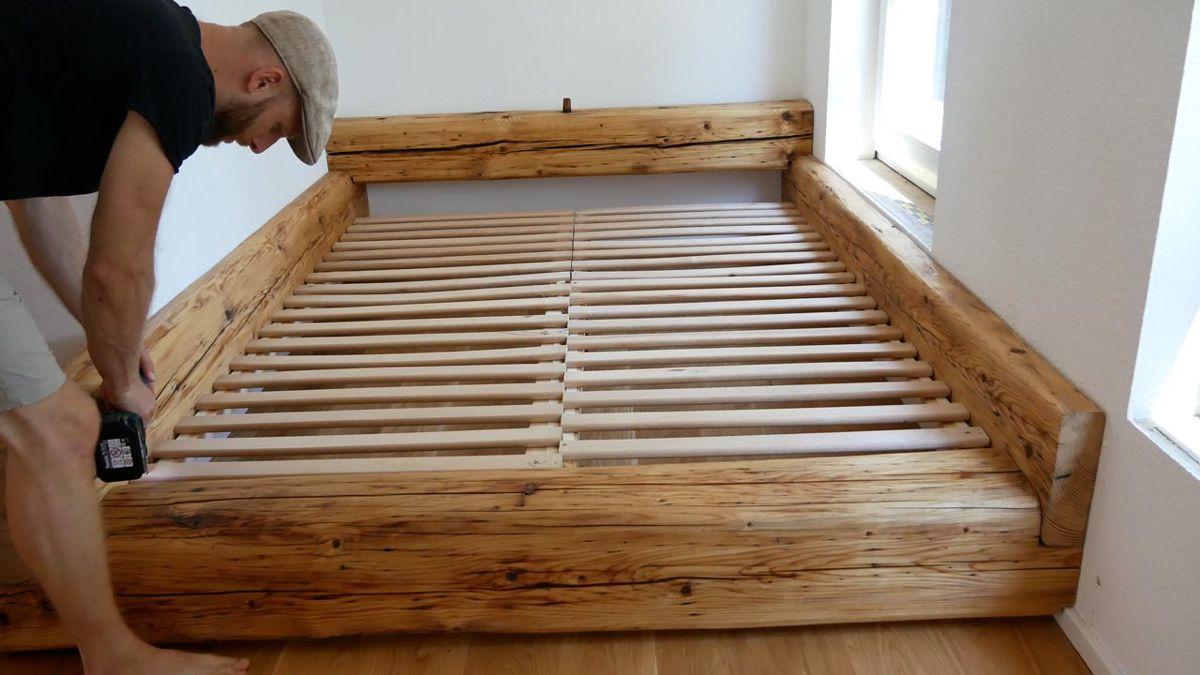 Full Size of Balkenbett Bett Selber Bauen Modern Design Mit Bettkasten 180x200 Wasser Betten 160x200 Hasena 200x200 Niedrig Kaufen 140x200 Ausziehbares Münster Tagesdecke Wohnzimmer Bett Selber Bauen