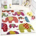 Teppichboden Kinderzimmer Kinderzimmer Teppich Bunte Elefanten Familie Kinderzimmer Regal Sofa Weiß Regale