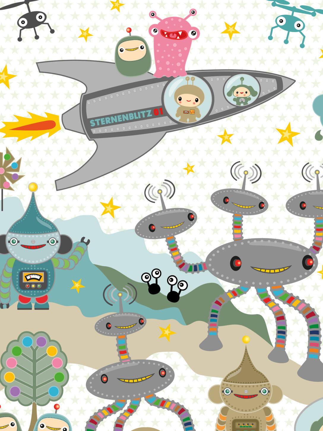 Large Size of Wandbild Kinderzimmer Tapete Sternenblitz Auf Planet Noxy Miyo Mori Sofa Regale Wandbilder Wohnzimmer Schlafzimmer Regal Weiß Kinderzimmer Wandbild Kinderzimmer