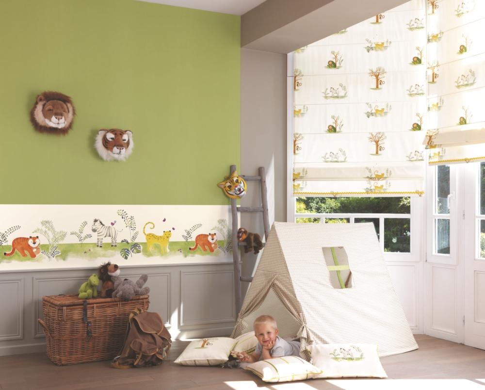 Full Size of Tapeten Für Kinderzimmer Casadeco Alice Paul Kindertapete Dschungeltiere Grn Braun Betten übergewichtige Regal Getränkekisten Sofa Klebefolie Fenster Kinderzimmer Tapeten Für Kinderzimmer
