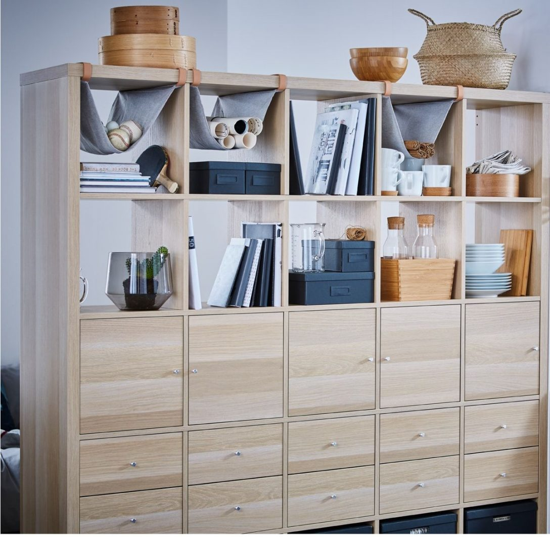 Large Size of Unser Ikea Kallaregal Mit 10 Einstzen Eicheneffekt Wei Lasiert Küche Kaufen Regal Raumteiler Betten 160x200 Sofa Schlaffunktion Modulküche Kosten Miniküche Wohnzimmer Raumteiler Ikea