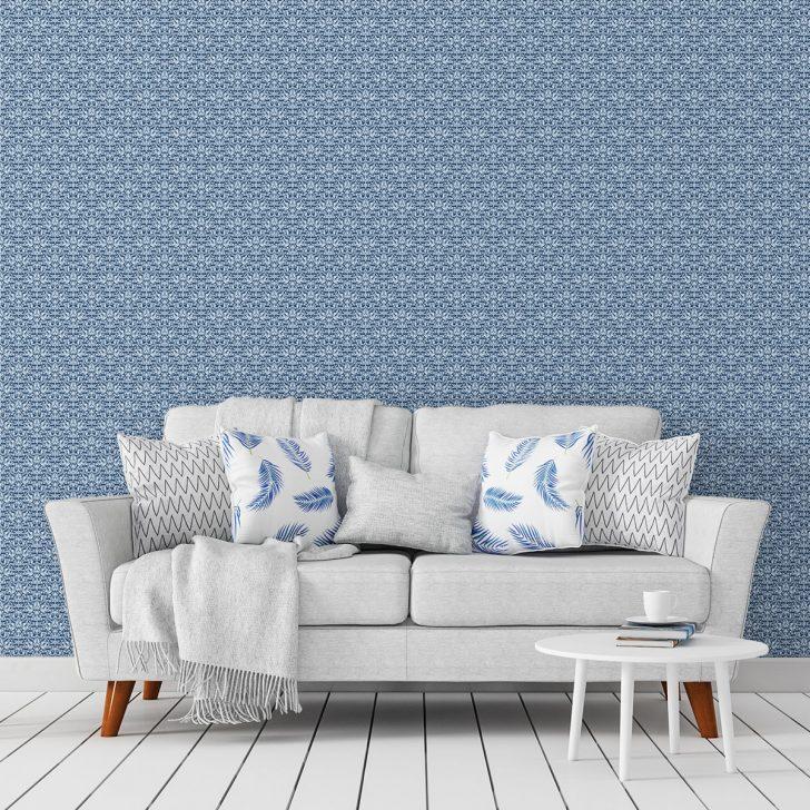 Medium Size of Florale Ornamenttapete Damast Muster Klassisch In Blau Design Schlafzimmer Günstig Komplette Sessel Komplett Massivholz Led Deckenleuchte Kommoden Wohnzimmer Schlafzimmer Tapeten
