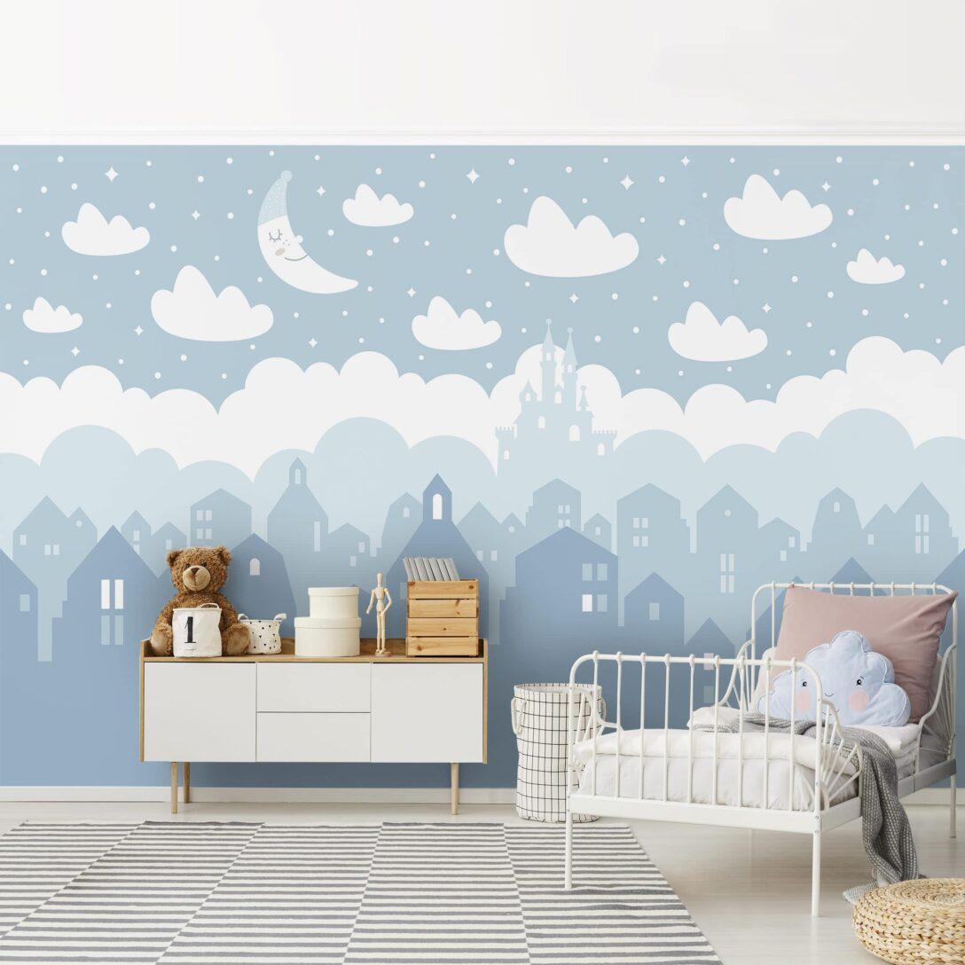 Large Size of Vliestapete Kinderzimmer Sternenhimmel Mit Husern Und Mond In Sofa Regal Weiß Regale Kinderzimmer Sternenhimmel Kinderzimmer