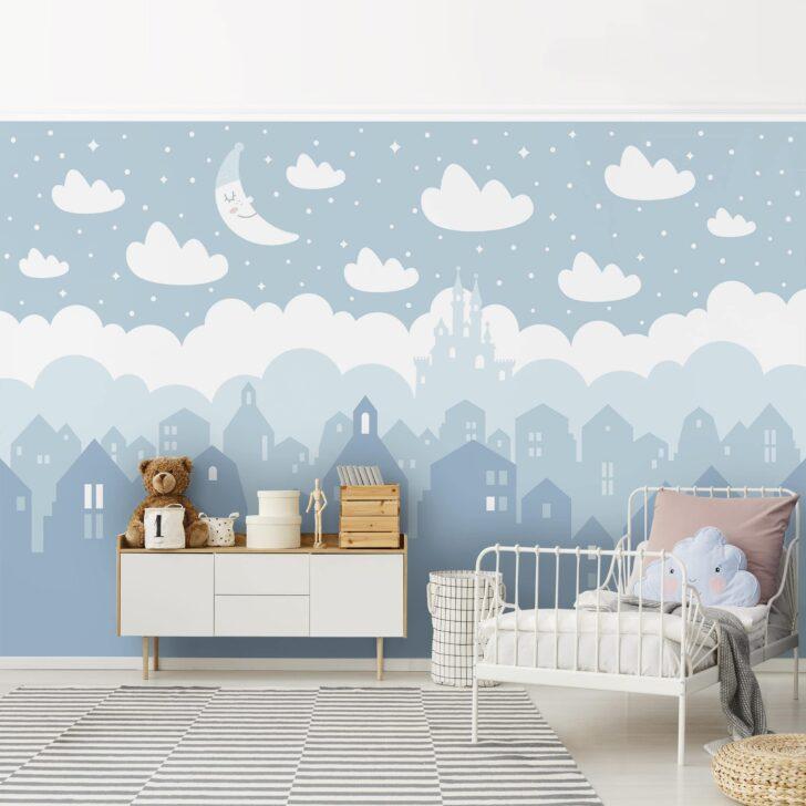 Medium Size of Vliestapete Kinderzimmer Sternenhimmel Mit Husern Und Mond In Sofa Regal Weiß Regale Kinderzimmer Sternenhimmel Kinderzimmer