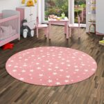 Spiel Teppich Sterne Rosa Rund Teppiche Aktuelle Sofa Kinderzimmer Regal Weiß Regale Kinderzimmer Teppichboden Kinderzimmer