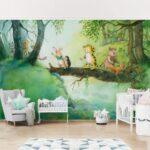 Wandbild Kinderzimmer Kinderzimmer Wandbild Kinderzimmer Selbstklebende Tapete Kleiner Tiger Baumbrcke Sofa Wohnzimmer Regale Wandbilder Schlafzimmer Regal Weiß