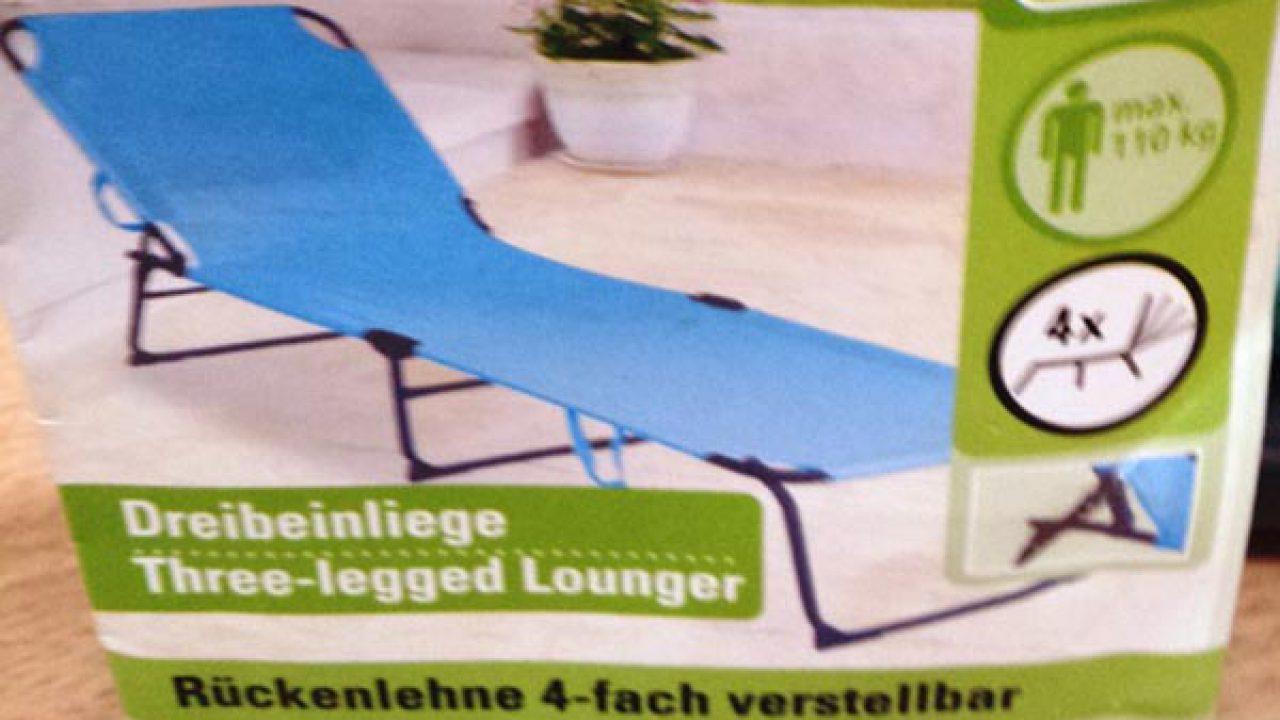 Full Size of Rapemeldung Mangelnde Stabilitt Bei Dreibein Liege Der Marke Relaxsessel Garten Aldi Wohnzimmer Sonnenliege Aldi
