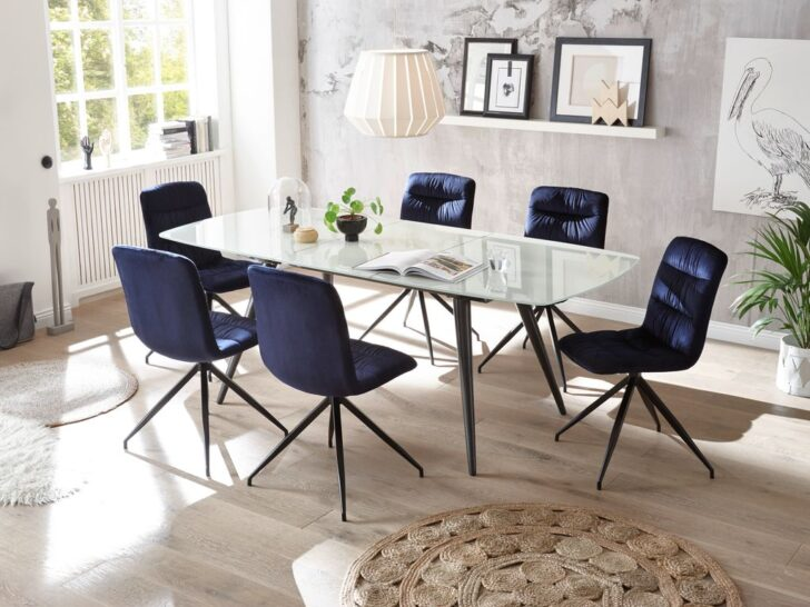 Medium Size of 22458 7tlg Essgruppe Glas Blau Glastisch Ausziehbar Esstisch Landhausstil Esstische Massivholz Rustikal Betonplatte Mit Stühlen Massiv Altholz Und Stühle Esstische Stühle Esstisch