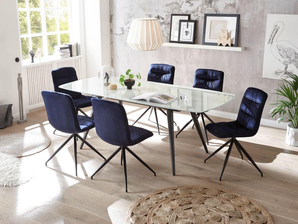 Full Size of 22458 7tlg Essgruppe Glas Blau Glastisch Ausziehbar Esstisch Landhausstil Esstische Massivholz Rustikal Betonplatte Mit Stühlen Massiv Altholz Und Stühle Esstische Stühle Esstisch